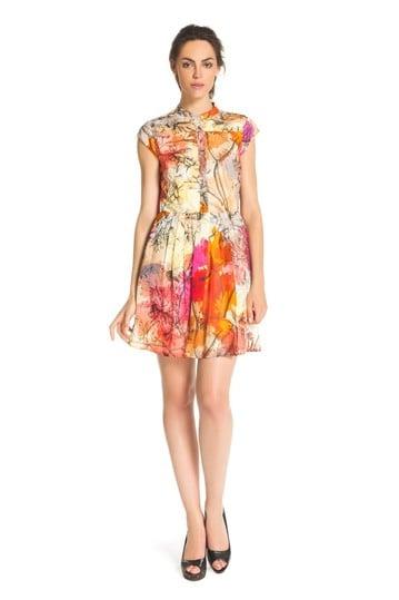 Robe imprimée jupe plissée - Robe Baliscorne | Derhy