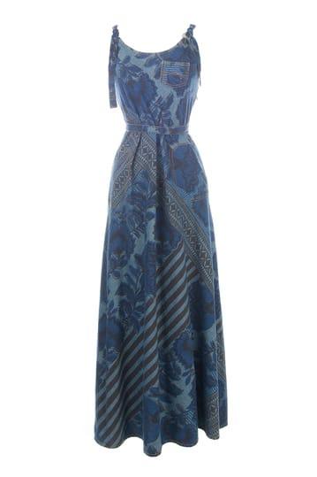 Robe longue imprimée en coton à bretelles, col rond