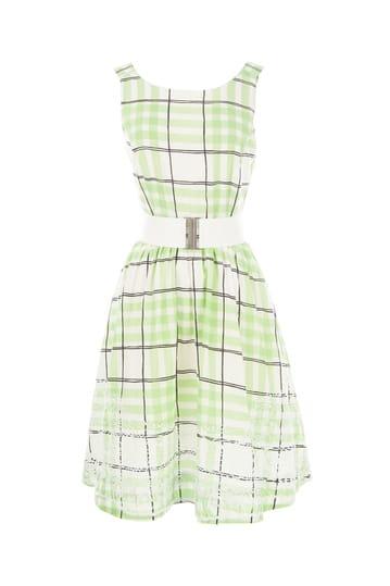 Robe imprimée à carreaux en coton et taille ajustée.