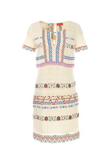 Robe droite en coton imprimée style ethnique ouverture au col