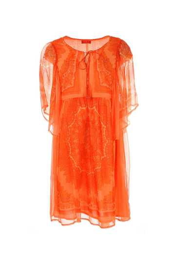 Robe mousseline imprimée manches courtes transparentes avec cordon