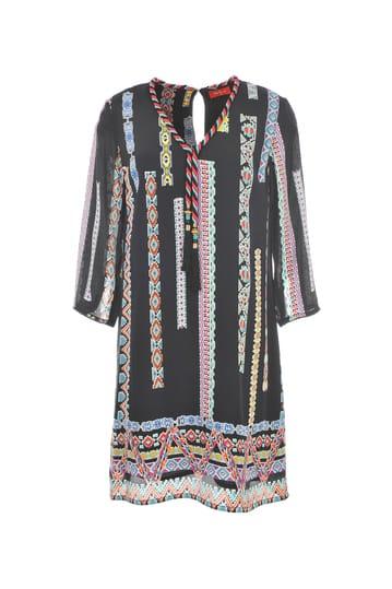 Robe imprimée ethnique à manches longues et pompons.