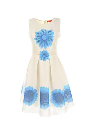 Robe avec imprimé fleurs. Taille ajustée jupe plissée.