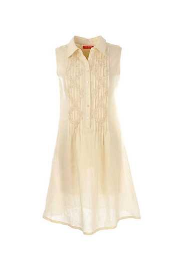 Robe en lin unie col chemise motifs brodés