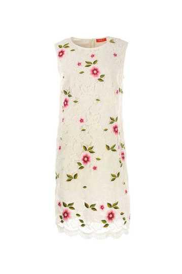 Robe en coton sans manches avec motifs dentelle avec fleurs