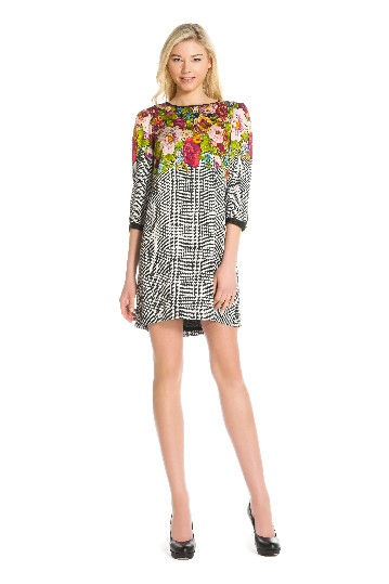 Sleeves dress in printed cupro with.
