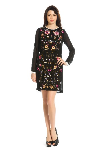 Robe bordée fleurs  - Robe Gelinotte | Derhy