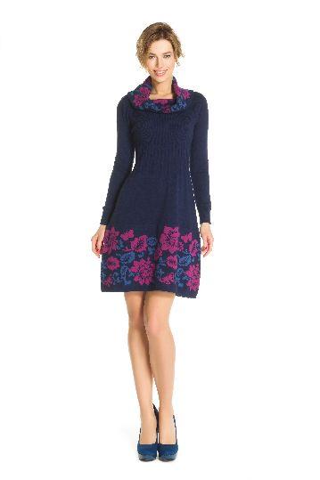 Robe en laine jacquard imprimé floral - Robe Globe | Derhy