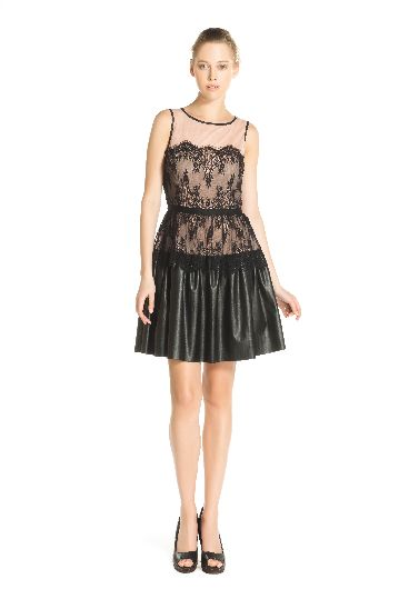 Sleeveless mesh dress with applicate BLACK.