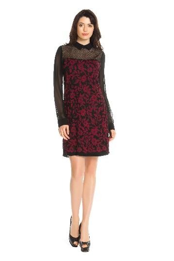 Robe georgette fleurs brodées col chemise - Robe Recto | Derhy