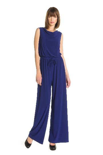 Sleeveless long jumpsuit in 95% polyester.
