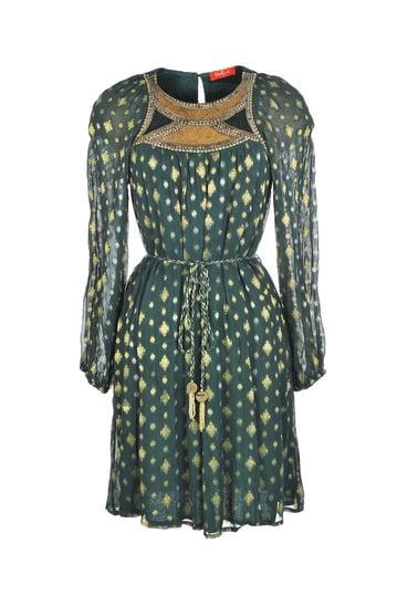 Robe viscose tissée de motifs dorés et argent