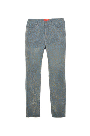 Pantalon denim 5 poches floqué doré.