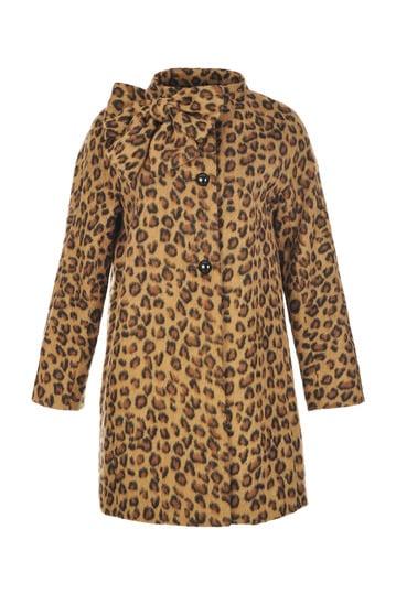 Manteau  effet fausse fourrure imprimé léopard,