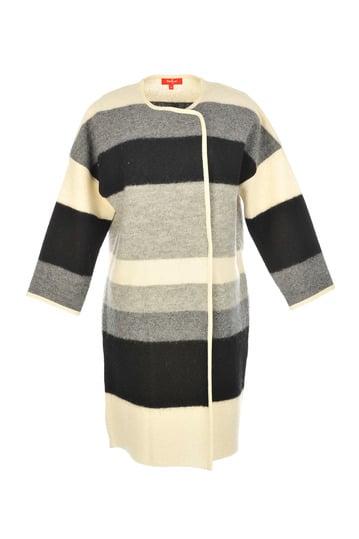 Manteau en laine bouillie rayée, fermeture asymétrique