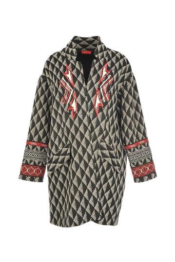 Manteau en jacquard imprimé géométrique,