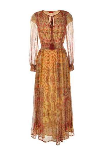 Robe longue imprimée taille ajustée par un large élastique