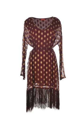 Robe en georgette franges en bas de la robe col brodé