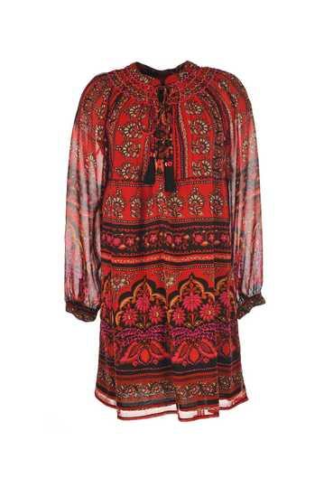 Robe georgette imprimée avec manches longues, col brodé