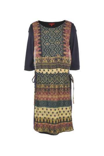 Robe imprimée à manches 3/4 unies cordons sur côtés