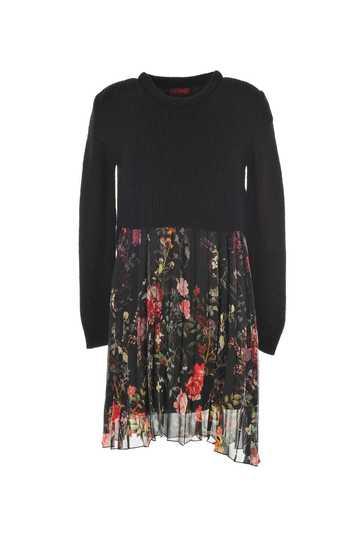 Robe en deux pièces avec haut tricoté jupe en georgette imprimée