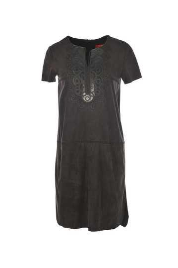 Robe en daim avec plastron cuir